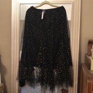 Anthropologie skirt tulle black with gold sparkles